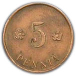 5 Penniä (Civil War Coinage) – reverse