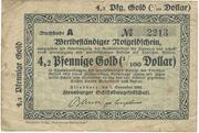 4.2 Pfennig Gold = 1/100 US-Dollar (Flensburger Schiffbaugesellschaft) – obverse