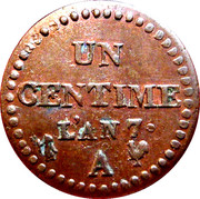 1 Centime (First Republic) – reverse