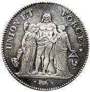 5 Francs Union et force, UNION tight, with inner acorns and outer acorn -  obverse
