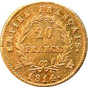 20 Francs - Emperor Napoléon -  reverse