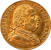 20 Francs - Louis XVIII (dressed bust; London) – obverse
