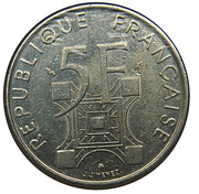 5 Francs (Eiffel Tower) -  reverse