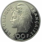 15 Ecus / 100 Francs (Mediterranean Games) -  obverse