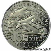 15 Ecus / 100 Francs (Mediterranean Games) -  reverse