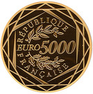 5 000 Euro (Rooster; 1st type) – reverse