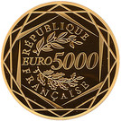 5 000 Euro (Rooster; 2nd type) – reverse
