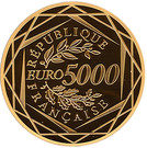 5 000 Euro (Rooster; 3rd type) – reverse