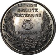 5 Francs - Third Républic  (Bazor) -  reverse