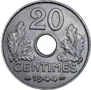 """20 Centimes (Vichy French State, Zinc, """"20"""", light type) -  reverse"""