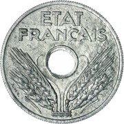 "20 Centimes (Vichy French State, Zinc, ""20"", heavy type) -  obverse"