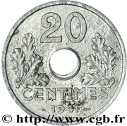 "20 Centimes (Vichy French State, Zinc, ""20"", heavy type) -  reverse"