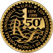 50 Francs (150th Anniversary French Postage Stamps) – obverse