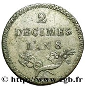 2 Décimes (pattern of Lorthior) – reverse