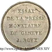 Essai de Bovy (au module du demi-franc en bronze-argenté) – reverse