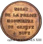 Essai de Bovy (au module du demi-franc en cuivre) – reverse