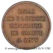 Essai de Bovy (au module du demi-franc en laiton) – reverse