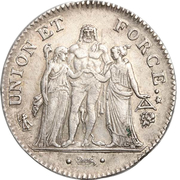 5 Francs Union et Force, UNION untight, with inner acorns and outer acorn -  obverse