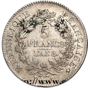 5 Francs Union et Force, UNION untight, with inner acorns and outer acorn -  reverse