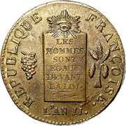 2 Sols (dated version, edge BON. POUR. BORD. MARSEILLE. LYON. ROUEN. NANT.ET STRB) – obverse