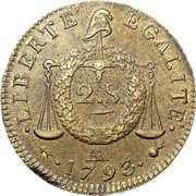 2 Sols (dated version, edge BON. POUR. BORD. MARSEILLE. LYON. ROUEN. NANT.ET STRB) – reverse