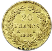 20 Francs - Louis-Philippe (Tiolier, edge incused) – reverse