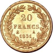 20 Francs - Louis-Philippe (Tiolier, edge raised) – reverse