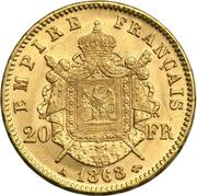 20 Francs - Napoleon III -  reverse