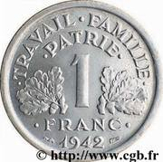 1 Franc (Vichy French State - heavy type) -  reverse