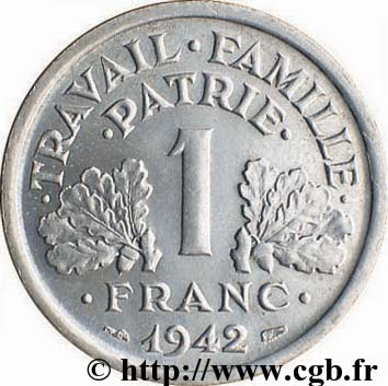 1943 french 2 franc coin