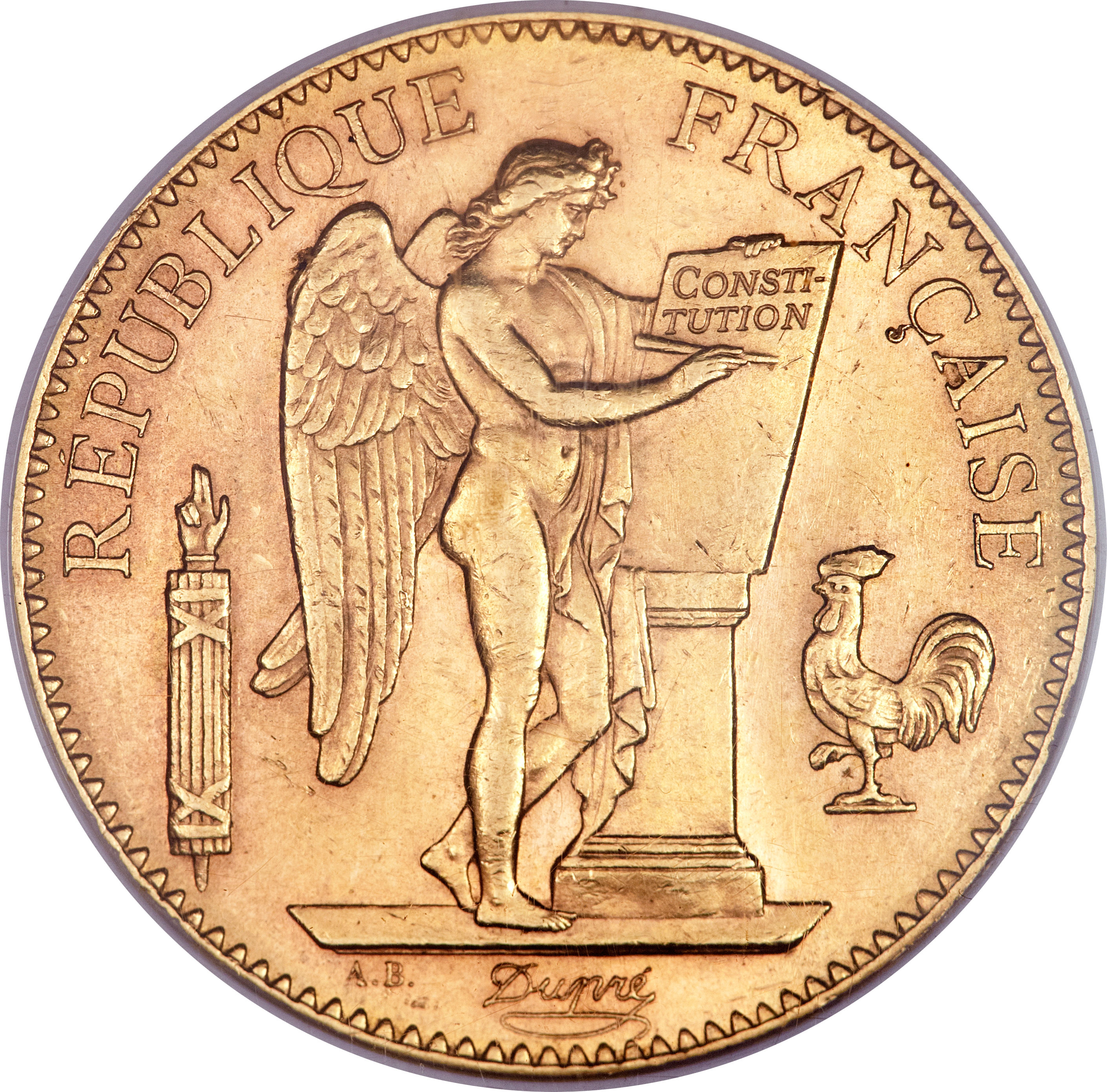 100 francs or g u00e9nie  tranche libert u00e9 egalit u00e9 fraternit u00e9