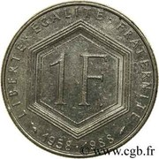 1 Franc (Charles de Gaulle) -  reverse