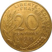 20 Centimes -  reverse