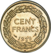 100 Francs (Trial of André-Marie Lavrillier) – reverse