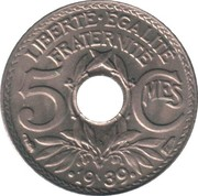 5 Centimes (year with points) -  reverse
