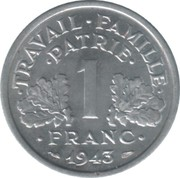 1 Franc (Vichy French State - light type) -  reverse