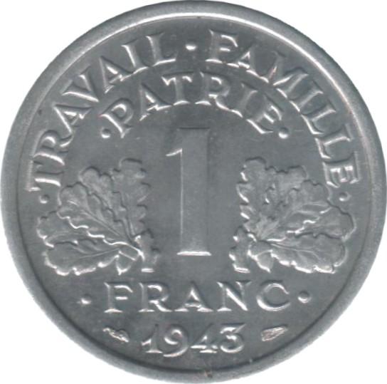 Vichy KM#902.3 France Coin 1 Franc 1944 Large C XF