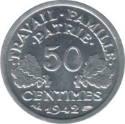 50 Centimes (Vichy French State; heavy type) -  reverse