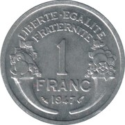 1 Franc (light type) -  reverse