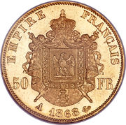 50 Francs - Napoleon III -  reverse