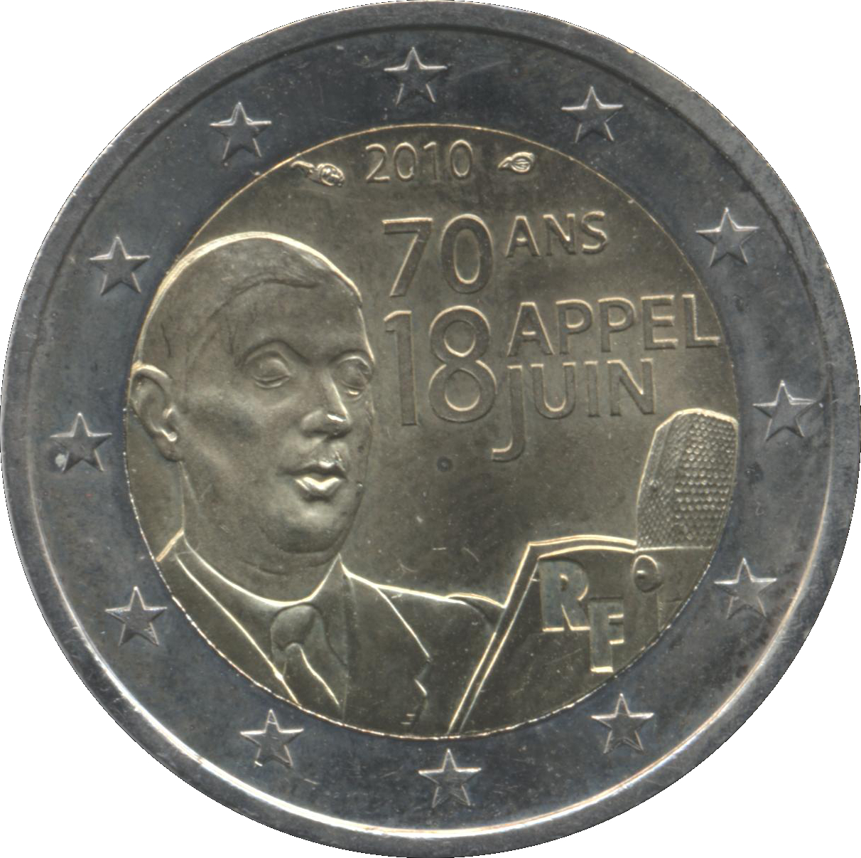 France 2 euro 2010 Appeal of June 18 Charles de Gaulle Bimetal UNC
