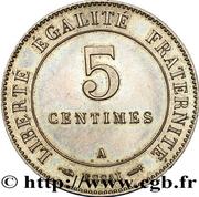 5 Centimes (Essai en maillechort de Merley, type II à flan rond) -  obverse