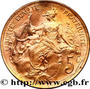 5 centimes Daniel-Dupuis (Pré-série en bronze sur flan brillant) -  obverse