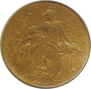 10 centimes Daniel-Dupuis (Epreuve en bronze, tranche cannelée)en bronze de revers) -  obverse