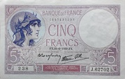 5 Francs Violet modifié – obverse