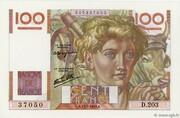 100 Francs (Jeune paysan, type 1945 avec signature Favre-Gilly) – obverse