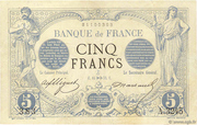 5 Francs - blue, black denomination (type 1871 overloaded) – obverse