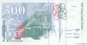 500 Francs - Pierre et Marie Curie (type 1993 fault) -  reverse