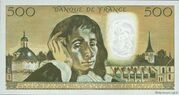 500 Francs (Pascal, type 1968) – reverse