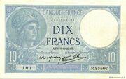 10 francs Minerve (type 1915 modifié) – obverse